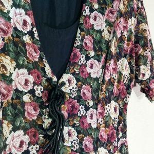 Vtg 80s Laceup Floral Dress